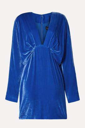 Cushnie Draped Velvet Mini Dress - Bright blue