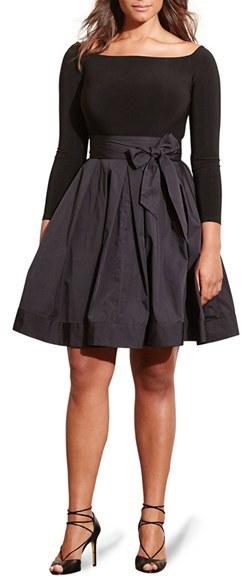 Lauren Ralph Lauren Jersey & Taffeta Party Dress (Plus Size)