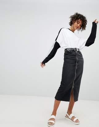 Cheap Monday Denim Skirt with Exposed Zip