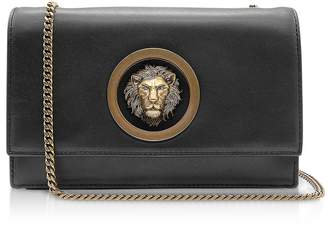 Versace Versus Black Leather Shoulder Bag w Antique Gold Lion and Chain 2ad5bf34afa9a