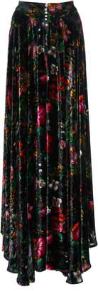 Paco Rabanne Floral-Print Velvet Maxi Skirt Size: 34