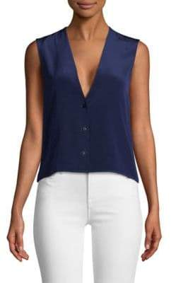 Diane von Furstenberg Sleeveless V-Neck Silk Top