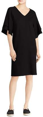 Ralph Lauren Ponte Flutter-Sleeve Shift Dress