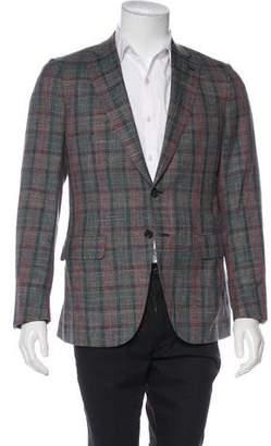 Isaia Plaid Wool & Silk-Blend Blazer