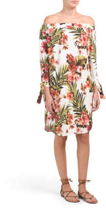 Made In Italy Tropical Off The Shoulder Dress