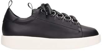 Grey Mer Black Leather Sneakers