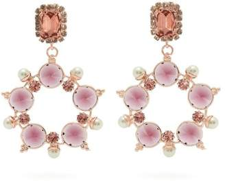 Erdem Crystal And Faux Pearl Hoop Drop Earrings - Womens - Pink