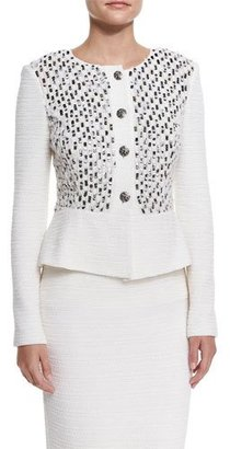 St. John Collection Bella Knit Sequin Peplum Jacket, Cream Multi $1,695 thestylecure.com