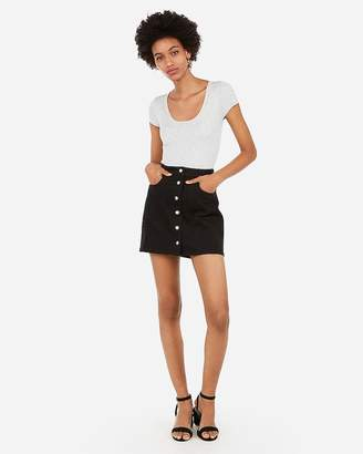 Express Snap Front Black Denim Mini Skirt