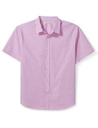 Amazon Essentials Men's Big and Tall Short-Sleeve Gingham Shirt fit by DXL