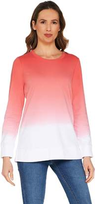 Denim & Co. Active Dip Dye French Terry Pullover
