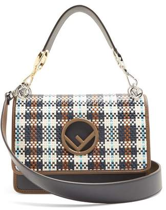 Fendi Kan I Contrast Panel Leather Shoulder Bag - Womens - Brown Multi