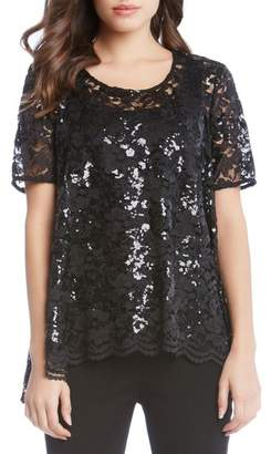 Karen Kane Sequin Lace Flare Top