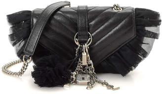 Saint Laurent Leather & Tulle Chain Strap Shoulder Bag - Vintage