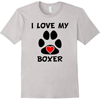 I Love My Boxer Paw Print Heart Dog Owner T-Shirt
