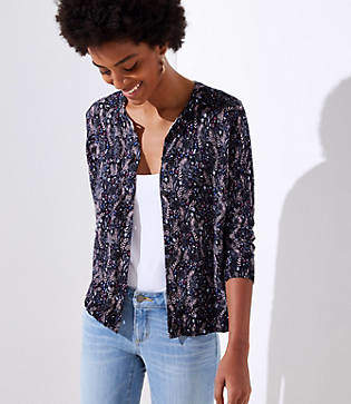 LOFT Meadow 3/4 Sleeve Signature Cardigan
