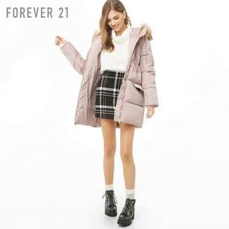 Forever 21 (フォーエバー 21) - Forever 21 フェイクファーフードパファーコート