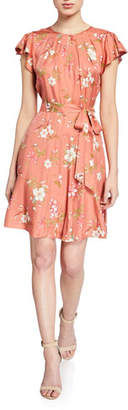 Rebecca Taylor Lita Floral Flutter-Sleeve Keyhole Dress