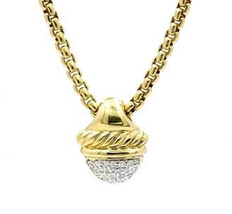 David Yurman Acorn 18K Yellow Gold Diamonds Pendant Necklace