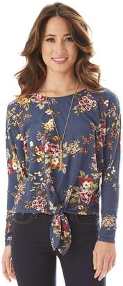 Iz Byer Floral Tie-Front Top & Necklace
