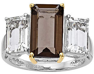 QVC Sterling/14K 2.90 ct Smokey Quartz & White Topaz Ring