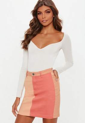 Missguided Nude Superstretch Colour Block Denim Skirt