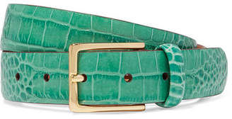 Andersons Anderson's - Croc-effect Leather Belt - Green