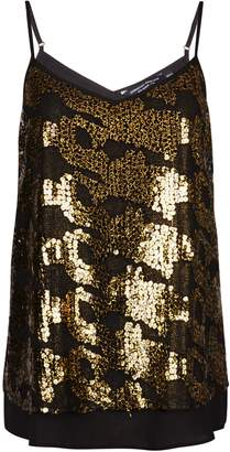 Dorothy Perkins Womens Gold Sequin Camisole Top