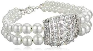 Nina Zettie Double Simulated Pearl with Deco Focal Strand Bracelet