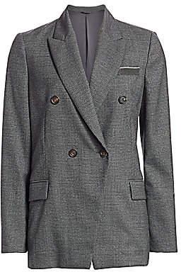 Brunello Cucinelli Women's Virgin Wool Houndstooth Double Breasted Jacket