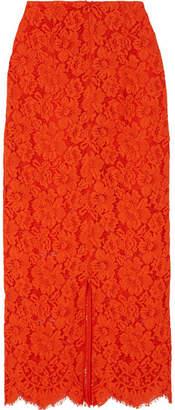 Ganni Jerome Lace Midi Skirt - Red