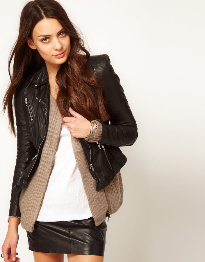 Muu Baa Muubaa Sharp Shouldered Leather Biker Jacket in Black
