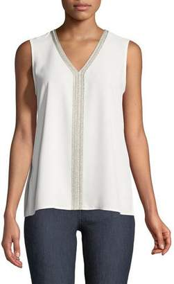 Misook Metallic-Trim V-Neck Tank, Petite