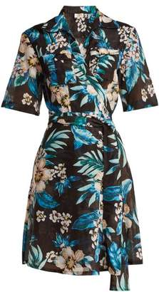 Diane von Furstenberg Floral Print Cotton And Silk Blend Wrap Dress - Womens - Black Print