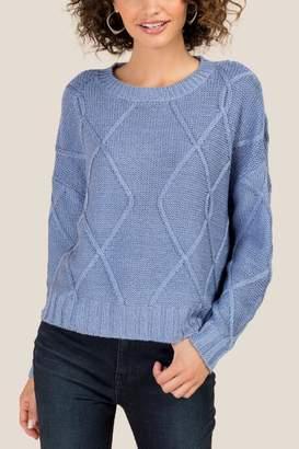 francesca's Petra Diagonal Stitch Sweater - Blush