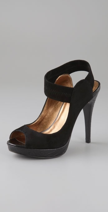 Pelle Moda Issa Peep Toe Pumps with Ankle Strap