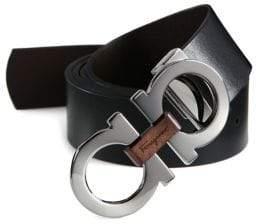 Salvatore Ferragamo Adjustable& Reversible Gancini Buckle Belt with Briarwood Detail