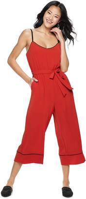 As U Wish Juniors' Piped Crop Jumpsuit