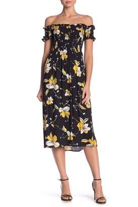 Bardot CIndy Off-the-Shoulder Print Dress