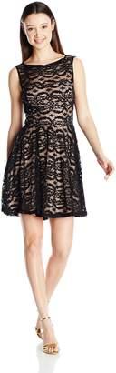 Jump Junior's Sequin Lace Short Party Dress, Black/Nude