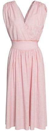 Wrap-Effect Ruched Cotton Midi Dress