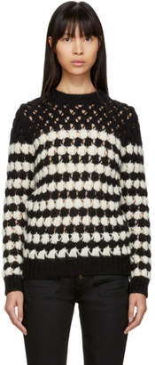 Saint Laurent Black and White Crochet Knit Sweater