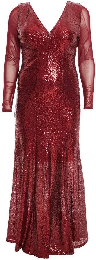 Curve Wine Sequin V Neck Maxi Dress