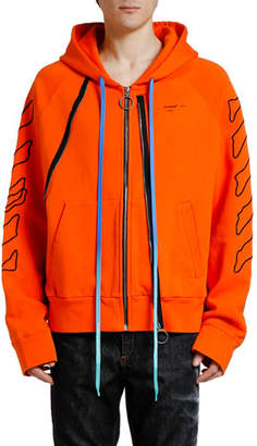 Off-White Men's Abstract Arrows Double-Zip Hoodie Sweatshirt