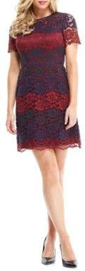 Maggy London Scalloped Lace Overlay Dress