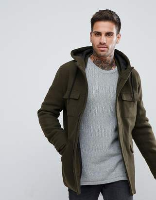 Bershka Wool Jacket With Hood And Double Pocket In Khaki