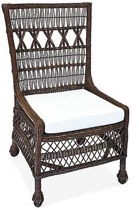 One Kings Lane Vineyard's Wicker Side Chair - Dark Walnut