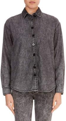 Victoria Beckham Victoria Long-Sleeve Button-Front Cotton Jean Shirt
