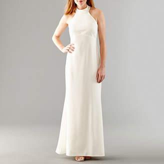 BLU SAGE Blu Sage Sleeveless Halter Beaded Wedding Gown