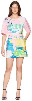 Moschino Landscape Print T-Shirt Dress with Tie Belt Women's Dress